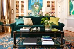 """Tuxedo Road Atlanta— An after-dinner room on Tuxedo Road in Buckhead commonly referred to as the """"Blue Nadal"""" for its extensive collection of large Carlos Nadal paintings in hues of blue. 