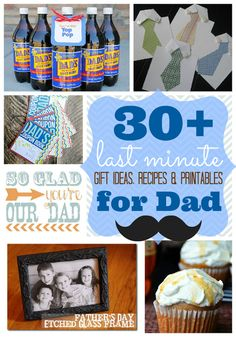 Ginger Snap Crafts: Over 30 Last Minute Gift Ideas, Recipes & Printables for Dad {Father's Day} Diy Birthday Gifts For Dad, Last Minute Birthday Gifts, Dad Birthday, Last Minute Gifts, Birthday Ideas, Gifts For Husband, Gifts For Father, Diy Father's Day Cards, Father's Day Activities