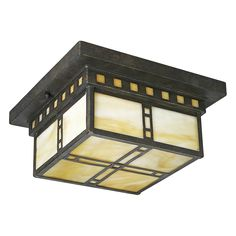 Progress Lighting P3513-46 2 Light Arts Crafts Flush Mount Ceiling Light, Weathered Bronze - Lighting Universe