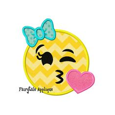 Digital Machine Embroidery Design   Kissy Face Smiley Face