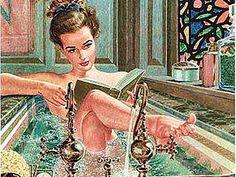 pin up reading vintage Reading Art, Woman Reading, Reading Time, Comics Vintage, Vintage Posters, I Love Books, Good Books, People Reading, Yoga Girls