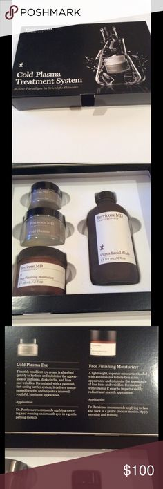 Skin treatment system. NWOT This NIB cold plasma cream/serum is great for the skin. Excellent skin cleansing, firming and moisturizer feels great on the skin.  Perricone MD systems are well known as one of the finest in upper scale skin products. Perricone MD Makeup