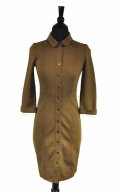210e6e3264090e Boden Olive Green Stretch Women s 3 4 Sleeve Button Shirt Dress Size 2   Boden