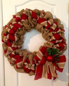 Holiday Striped Burlap Wreath by AccentsByAnnaF on Etsy
