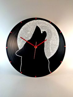 Howling Wolf Vinyl Clock Hand Painted Black&White by InsaneDotting
