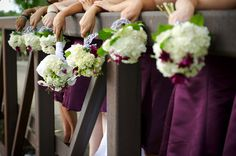 Bridesmaid's Bouquets in plum