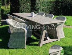 Landelijke stijl tuinset met rotan stoelen - landelijke tuinmeubelen landelijk online bij LIVING-shop.eu