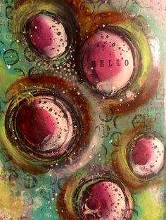 Lots of lovely layers - art journal page #art #acrylic #artjournal #artjournaling #artjournalpage #color #colour #dinawakleypaint #goldenpaint #fingerpainting #intuitiveart #intuitivepainting #journal #layers #mixedmedia #mixedmediaart #paint #stamps #stencil
