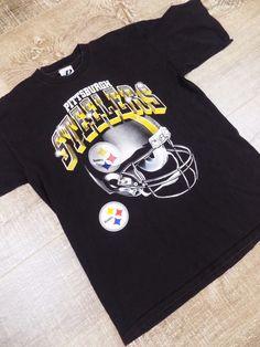 cbb671ed4 VTG 90s Pittsburgh Steelers NFL T Shirt Graphic Tee Large L Black Football