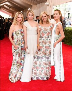 Mélanie Laurent, Dianna Agron, Tory Burch and Maggie Q, all in custom gowns by Tory attending Monday night's Met Ball in New York City