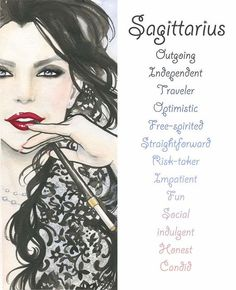 Sagittarius, Zodiac Sign, Print, Watercolor, Illustration, Girl