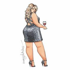 Items similar to Party Girl, Plus Size Fashion Illustration, Art Print of an Artist Marker Sketch on Etsy - This lady is ready for the party in a stunning sequinned gown – and perfectly accessorized with a - Black Girl Art, Black Women Art, Art Girl, Art Beauté, Plus Size Art, Modelos Plus Size, Dibujos Cute, Plus Size Beauty, Fat Women