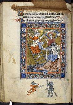 Miniature of Jacob's dream of the ladder, before Psalm 80, with a curtain above, and a bas-de-page image of cannibalistic grotesques pointing to our spreadsheet, from the Rutland Psalter - See more at: http://britishlibrary.typepad.co.uk/digitisedmanuscripts/science/#sthash.lAq3odRY.dpuf