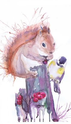 Squirrel art print abstract squirrel painting by ValrArt on Etsy