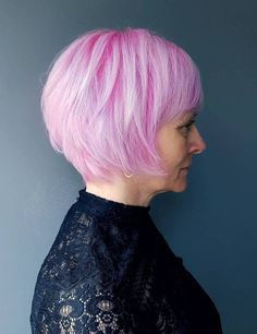 Pink Bob With Silver Highlights
