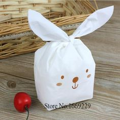 20pcs/lot rabbit ear cookie bags plastic candy Biscuit Packaging Bag Wedding Candy Gift Bags party Supplies - Hespirides Gifts
