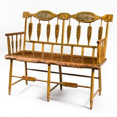 Paint Decorated Windsor Double Settle. This and more important folk art for sale on CuratorsEye.com