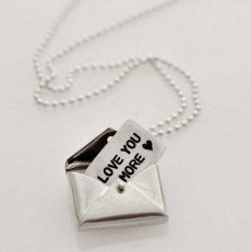 Envelope with Your Message Necklace - customize with your own message on sterling silver sheet