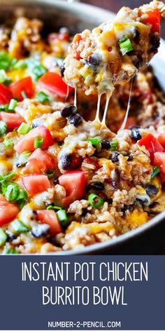 This recipe for Instant Pot Chicken Burrito Bowl is packed with flavor and so easy to make. Boneless, skinless chicken breast, mexican rice, black beans, and fire roasted tomatoes make this easy Instant Pot dinner incredibly flavorful! Best Instant Pot Recipe, Instant Pot Dinner Recipes, Best Dinner Recipes, Chicken Breast Instant Pot Recipes, Instapot Recipes Chicken, Gluten Free Recipes Instant Pot, Crockpot Boneless Chicken Recipes, Easy Recipes With Chicken, Healthy Chicken