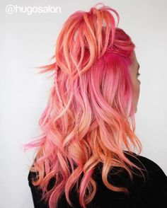 Nails orange pink peach hair 33 ideas for 2019 Pink Peach Hair, Pink And Orange Hair, Pink Ombre Hair, Pastel Hair, Peach Orange, Pastel Pink, Sunset Hair, Pastel Sunset, Cool Hair Color