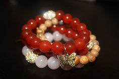 red carnelian, picture jasper and rose quartz semi precious gemstone beaded bracelets with gold pave rhinestones and gold charms - set of 4