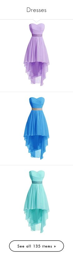 """Dresses"" by fashion-934 on Polyvore featuring dresses, hi low dress, purple prom dresses, high low dresses, party dresses, high low homecoming dresses, short dresses, short homecoming dresses, cocktail prom dress and blue party dress"