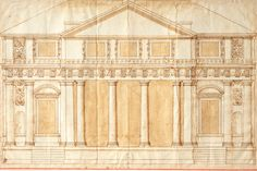 Andrea Palladio, Design for the Villa Repeta at Campiglia: façade, early 1560s. Ruler and stylus, compasses or dividers, pen and brown ink, brush and brown wash  Royal Institute of British Architects, British Architectural Library, XVII/21r.
