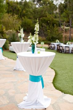 lower centerpieces, but a nice way to add blue if you can't get it in the flowers Marisa!