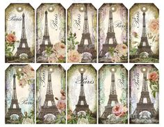 Eiffel tower printable gift tag