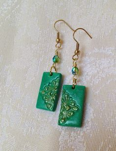 HANDMADE Polymer Clay Gold Green Blue Teal by CLINKeCreations