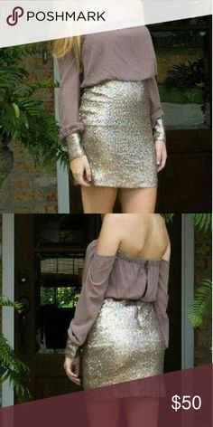 **NWT** Taupe & Gold Off Shoulder Cocktail Dress Wear one of this year's hottest colors when you wear this taupe & gold off the shoulder dress! We love the bands around the wrist and the great layered look of the back!  ~Available in Medium & Large Dresses Prom