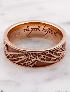 Perfect for any nature lover, this ring is a symbol of your eternal love. Customized here with a modeled inscription inside the band. Tree Of Life, Precious Metals, Wedding Bands, Cuff Bracelets, Gold Rings, Rings For Men, Rose Gold, Engagement Rings, Handmade