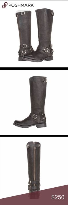 FRYE Veronica Tall Back Zip Moto Boots, NWT, 6.5 Authentic and brand new in box!  Color is black!  These run small imo, I can normally wear a 6.5 but these seem to fit more like a 6 Frye Shoes Combat & Moto Boots