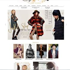The white background and use of light colors and attractive design on the header and around the logo name that Free People's site uses inspires me. Rather than overwhelming users with paragraphs of information they use pictures and very few wording to help users find clothing/accessories. This element is highly attractive to me. If I could incorporate more eye-grabbing designs, photos, and videos to my site rather than bulky paragraphs, i believe it will be more successful.
