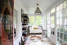 sun room + white floors