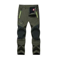 67250f23ba Winter Hiking Warm Waterproof pants Fleece Trekking Ski outdoor Pants  Windstopper Climbing long trousers Men push size L-5XL