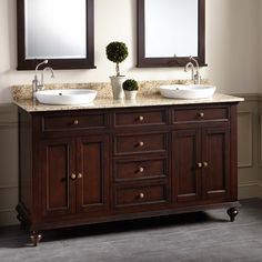 "60"" Keller Mahogany Double Vanity for Semi-Recessed Sinks - Dark Espresso"
