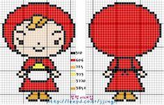 Kawaii Cross Stitch, C2c Crochet, Beaded Cross Stitch, Knitting Charts, Betty Boop, Hama Beads, Plastic Canvas, Knit Patterns, Cross Stitching