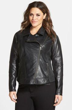 Halogen®+Smocked+Side+Leather+Moto+Jacket+(Plus+Size)+available+at+#Nordstrom