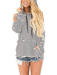 New DANALA Women's Casual Striped Pullover Hoodies Oblique Zip Long Sleeve Kangaroo Pocket Sweatshirt online. Find the perfect G2 Chic Tops-Tees from top store. Sku BGLE49753PJDK68945