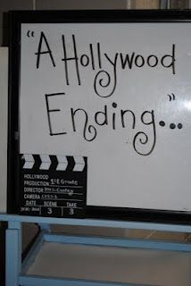 end of the year party:  Hollywood theme complete with hand prints on stars and autographs.