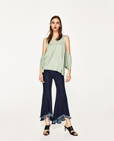 FRILLED TOP WITH CUT-OUT SHOULDERS from Zara
