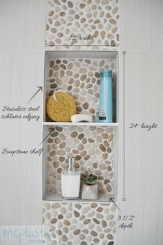 Bathroom Shower Niche Design ~ oneplustwo design co. Add a designer detail to your bathroom decor with a well planned shower niche. These easy tips will create a perfect shower niche for your bathroom remodel. Mold In Bathroom, Bathroom Fixtures, Bathroom Ideas, Bathroom Cabinets, Bathroom Designs, Bathroom Hacks, Bathroom Vanities, Bathroom Bin, Bathroom Showers