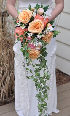 Coral and Peach Cascade Bouquet Trailing by Hollysflowershoppe