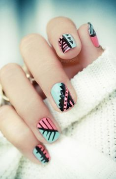 Nail Art. Aquamarine, pink and black. Geometric design for Coachella Festival. Nails color inspiration. Medium difficulty nail art.