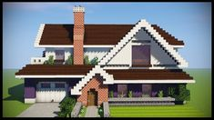 Minecraft: How To Build A Large Suburban House Tutorial. In this Minecraft build tutorial I demonstrate an easy way to make a large suburban or modern house . Minecraft Villa, Casa Medieval Minecraft, Modern Minecraft Houses, Minecraft Mansion, Minecraft City Buildings, Minecraft Plans, Minecraft Houses Blueprints, Minecraft Architecture, Minecraft Crafts