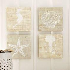 Lollie Seascape Wood Wall Art (Set of 4)
