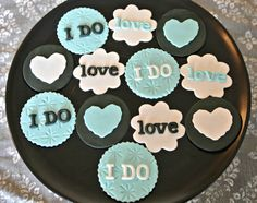 Cupcake Gallery - Kristen's Cake Creations - Tiffany inspired bridal shower fondant cupcake toppers