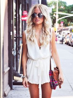 dress romper jumpsuit white tie up high waisted bag accessories light summer dress clothes summer outfits sunglasses shorts hippie High waisted shorts hipster native american casual soft grunge vintage jumpsuit chiffon white romper flowy classy pants jumpsuit jumper short low-cut low cut