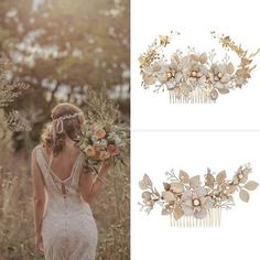 'Fiorentina' wanders through wheat fields wearing floral wreaths in pale gold Stephanie Browne Wheat Fields, Floral Wreaths, Hair Decorations, Hair Bands, Wire Work, Every Girl, Wedding Tips, Wedding Accessories, Special Day
